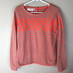 Anthro Sparrow orange stripe dot sweater3/4 sleeve